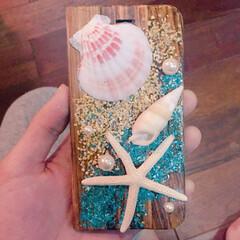 マリンテイスト/iPhoneケース/ニス/パール/貝がら/貝殻/... 貝殻小物が大好きなので、インテリア用の貝…