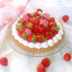 春のフォト投稿キャンペーン/LIMIAごはんクラブ/おうちごはんクラブ/スイーツ/ケーキ/タルト/... 息子のお誕生日ケーキに いちごタルトを作…