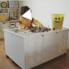 子供部屋/おもちゃ収納/レゴ風/カラーボックスリメイク/カラーボックス/DIY/... (つづき) プレイテーブルとして使う時は…
