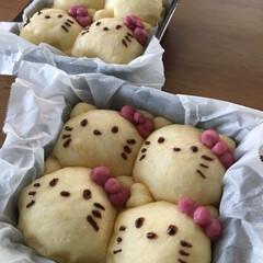手作りパン/ちぎりパン/キティちゃん/パンづくり/令和元年フォト投稿キャンペーン/令和の一枚/... キティちゃんのちぎりパンつくりました♡ …