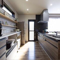 パントリー/リシェルSL/キッチン/フォロー大歓迎/キッチン雑貨/インテリア/... キッチンの横から見た写真😍 勝手口とパン…