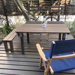 カフェ気分/お庭リビング/お庭作り/ガーデン/ガーデンリビング/庭/... 今日はとても良い天気でした😊  外出自粛…