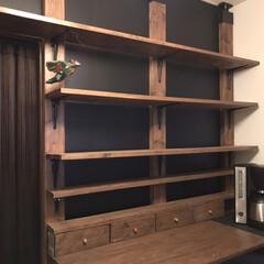 ラブリコ/プラダン/食器棚/食器棚収納/DIY女子/LIMIAFESTA/... キッチンの反対側の壁  ラブリコ立てて棚…