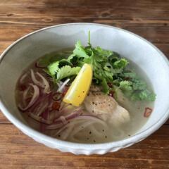 ホエー/麺好き/あさひるごはん/ベトナム料理/フォー/ブランチ/... 今日のブランチはチキンフォー 出汁にホエ…(1枚目)
