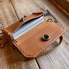レザークラフト/ミニバッグ/カードケース/カード入れ/DIY/ハンドメイド/... 『ミニバッグ型カードケース』 カー…(2枚目)
