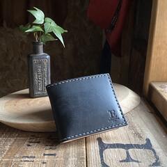 栃木レザー/財布/革細工/DIY/レザークラフト/雑貨/... シンプルな『二つ折財布』 このタイプの…