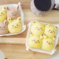 ポケモン/キャラクター/ちぎりパン/手作りパン/おうちパン/おうちカフェ/... ピカチュウ イーブイ ちぎりパン 𖡡𐀩 …