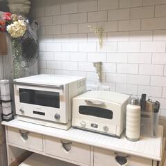 アラジン グリル トースター 4枚焼き AET-G13N 白 ホワイト | アラジン(トースター)を使ったクチコミ「キッチンの壁紙を張り替えてみました🏠 壁…」(1枚目)