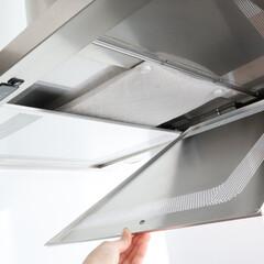 スターフィルター/キッチン/掃除/時短/簡単/換気扇フィルター ホワイトベースの爽やかでシンプルなキッチ…