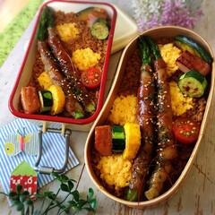 アスパラ/そぼろ丼/お弁当作り/わたしのごはん/お弁当/LIMIAごはんクラブ/... アスパラの肉巻きをどーん!  ご飯はそぼ…