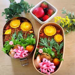おべんとう/お弁当作り/お弁当おかず/春弁当/お弁当/春のフォト投稿キャンペーン/... タンポポのそぼろ弁当。  ご飯の間には前…