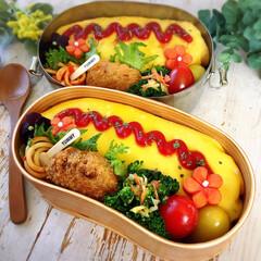 オムライス弁当/おべんとう/お弁当作り/お弁当おかず/春弁当/お弁当/... ご飯のスイッチを入れ忘れた! 冷凍ご飯あ…