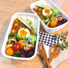 ドライカレー/カレー弁当/お弁当/おべんとう/お弁当作り/LIMIAごはんクラブ/... ドライカレー弁当🍛 野菜もいっぱい食べて…