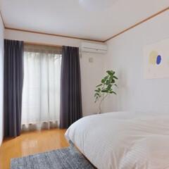 インテリアコーディネート/アート アート作品を入れた、寝室です。 シンプル…