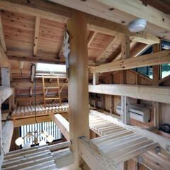 木造/伝統工法/ロフト/木製デッキ/小屋組み