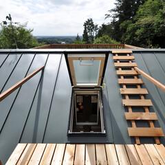 屋根/庭・ガーデニングリフォーム/トップライト/眺望/デッキ ロフトからトップライトを開けて屋根のデッ…