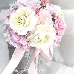 ウエディングブーケ/はじめてフォト投稿 白バラとピンクのブーケ とても、かわいい…