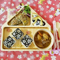 ファンファン ハウス14プレートセット FUNFAM 竹食器 プレート 皿 ウッドプレート 日本製 国産 安心 安全 キッズ プレゼント 竹食器雑貨(ベビー食器)を使ったクチコミ「娘の朝ごはん🍴」