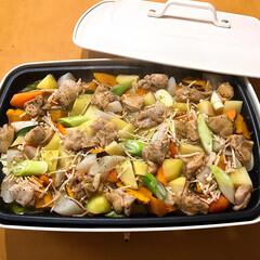 ブルーノ料理/ホットプレート料理/夕飯/夜ご飯 夕飯はブルーノでぎゅうぎゅう焼き! 皆ん…