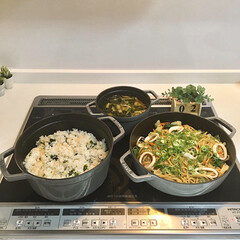 夜ご飯/お家ごはん/ご飯  今日の夕飯は 長女リクエストで いか焼…