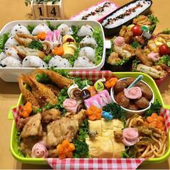 運動会弁当/手作り弁当/ご飯/お弁当  運動会弁当。  夫私チビさん2人の4人…(2枚目)