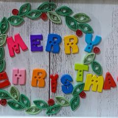 チワプー/ヨーキー/ペット/犬/リース/クリスマス/... クイリングのリース 額縁の中に壁紙貼って…(1枚目)