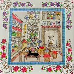 塗り絵 今日の塗り絵… こんな可愛いお部屋💕に住…