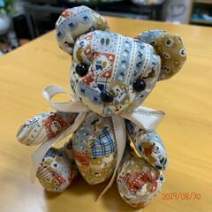 手縫い/クマのぬいぐるみ/DIY/ダイソー/セリア/雑貨/... 今日は、ライトくんのクマさんにチャレンジ…