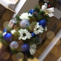 ツリー/クリスマス/クリスマス2019/キャンドゥ/ダイソー/セリア/... ブルー系のクリスマスツリー 毛糸玉🧶も入…