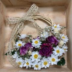 花かんざし/リース/花かごリース/ドライフラワー/ボックスリース/ピンク/... 薔薇とかすみ草、花かんざしのボックスリー…