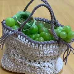トートバッグ風/手編み/キャンドゥ/ダイソー/セリア/100均/... 小さなバッグ編みました。  今は、冷蔵庫…