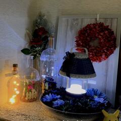ライト/クリスマス/リース/クリスマス2019/キャンドゥ/ダイソー/... 部屋の一角をライトアップ😁✌️ キャンド…