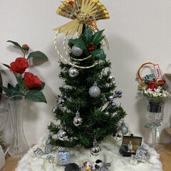 お正月/ツリー/リビング/キャンドゥ/ダイソー/セリア/... クリスマスツリーからの正月ツリー🤣🤣🤣 …
