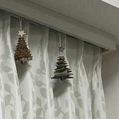 ツリー/クリスマス/リビング/クリスマスツリー 吊るすツリー🌲🌲 星形と雪の結晶の木製ツ…