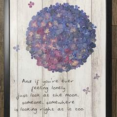 ウォールステッカー/押し花アート/紫陽花/100均/ダイソー/セリア 押し花アート 今年は、なかなか紫陽花をも…