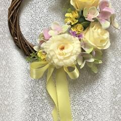 サンキ/リース/インテリア/春のフォト投稿キャンペーン/春/雑貨/... 黄色い薔薇のリース  私にしては珍しい色…