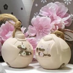 お雛様/土鈴/ひな祭り/ピンク/雑貨 土鈴のお雛様 小さな変わり雛…造花と一緒…