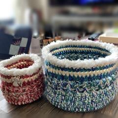 小物入れ/毛糸/手編み/キャンドゥ/ダイソー/ハンドメイド 編み編みの小物入れ、2個✌️ 亡き母の毛…