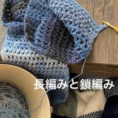 シンプルマフラー/手編み/ダイソー/100均/雑貨/ハンドメイド/... コツコツ長編み、鎖編み…だけのシンプルな…