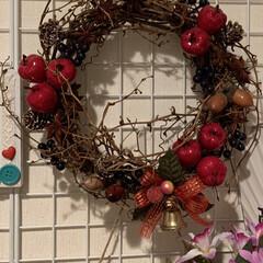 トールペイント/クリスマス/玄関/ダイソー/ハンドメイド/雑貨/... 玄関にもクリスマス🌲 扉には、トールペイ…(2枚目)