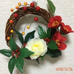 お飾り系リース/造花/アレンジ/リース/キャンドゥ/ダイソー/... 2020年は、喪中なのでお飾り系の物は、…(4枚目)