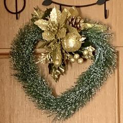 簡単/ハート/リース/クリスマス2019/キャンドゥ/ダイソー/... チョー簡単ハートのクリスマスリース  材…