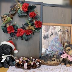 ツリー/紫陽花/押し花アート/リース/LIMIAベスト収納2019/クリスマス2019/... おこた出したので、ダイニングテーブルの上…