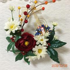 お飾り系リース/造花/アレンジ/リース/キャンドゥ/ダイソー/... 2020年は、喪中なのでお飾り系の物は、…(5枚目)