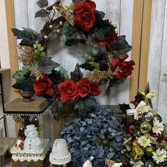 ツリー/100均/クリスマス/サンタ/リース/キャンドゥ/... 赤いバラのリース ちっちゃなクリスマスツ…