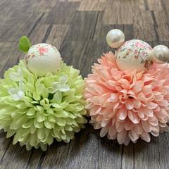 お雛様/ひな祭り/ピンク/キャンドゥ/ダイソー/セリア/... お花のお雛様🌸 有り合わせの組み合わせだ…