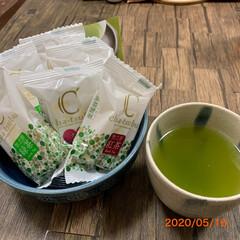 感謝/いただき物/新茶 今日のおやつ💕 綺麗な緑色、新茶嬉しいで…