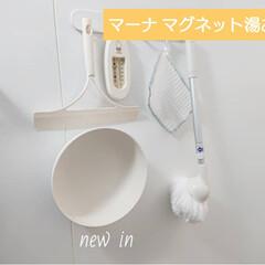 マーナ マグネット 湯おけ 湯桶 ホワイト 洗面器 収納 マグネット 風呂桶 洗面ボウル 浴室 バスルーム おしゃれ きれいに暮らす | マーナ(湯桶、手桶)を使ったクチコミ「【マーナ マグネット湯おけ】  浴室の壁…」