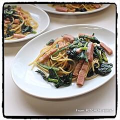 recipe付き/みんなのブログ/キッチンポケット/パスタ/スパゲティ/和風パスタ/... ほうれん草とベーコンの和風パスタ🍝 …