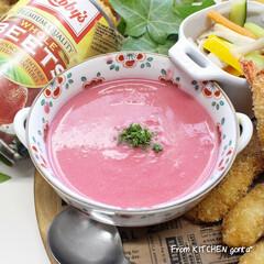 ビーツのポタージュ/ビーツのスープ/ビーツ/和食器のある暮らし/食器好きな人と繋がりたい/料理好きな人と繋がりたい/... 飲む輸血❤️🩹ビーツのポタージュ  …(1枚目)
